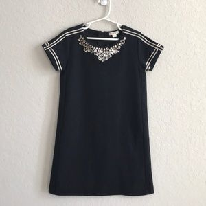 Crewcuts by j crew black dress w jewels size 8 EUC